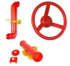 RED Playground Accessory Kit Cubbyhouse Steering Wheel Telescope Periscope Pack