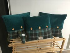 Handmade Harris Tweed and velour button cushion, home decor, accent cushion, gif