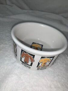 """Mug Shots Dog Signature Stoneware by Riviera & Can Beers Dog Bowl WANTED 7.5x3"""""""