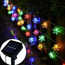 Solar Powered Snowflake String Fairy Lights Xmas Garden Outdoor Party Decor Lamp