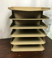 Vintage Lit Ning Industrial Beige Metal Desk Paper Organizer 6 Trays Mid Century