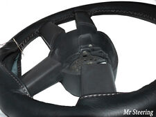 FOR VW CRAFTER LT3 VAN BLACK REAL LEATHER STEERING WHEEL COVER 06-15 GREY STITCH