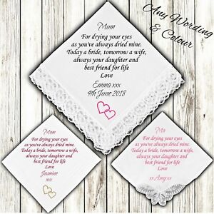 Mother of the Bride Personalised Handkerchief Favour Gift Mum Mom Wedding Hearts