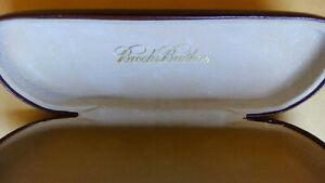 Brooks Brothers Brown Leather Hard Shell Eyeglasses Glasses Case