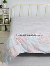 Premium 100% Cotton Soft Summer Floral Patchwork Blanket Queen Sizes Indian