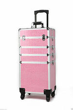 4 in 1 Portable Makeup Cosmetic Beauty Trolley Case, Hairdresser,nail-PINK CROC
