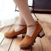 Women Platform Block Med Heel Ankle Strap Faux Suede Buckle Shoes Solid Loafers