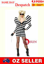 Women Dance Lady GaGa Sexy Lingerie Costumes Black and White Zebra Fancy Dress