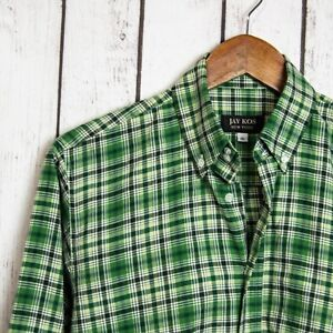 JAY KOS New York Men's Button Down Shirt Green Plaid Size 16