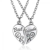 """2 Pcs Jewelry Love Heart """"Best Friend"""" Pendant Friendship Necklace Chains"""