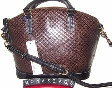 Dooney & Bourke Taupe & Black Embossed Leather Domed Toni Satchel Bag NWT $248