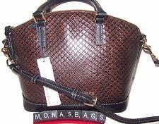 Dooney & Bourke Taupe & Black Embossed Leather Domed Toni Satchel Bag NWT $248