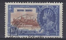 DB383) Hong Kong 1935 Jubilee 10c brown & deep blue SG 135 with variety