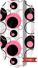 Nail WRAPS Nail Art Water Transfers Decals - Pink & Black Circles - W001
