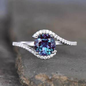 2.20Ct Round Cut Alexandrite Women Engagement Wedding Ring 14K White Gold Finish