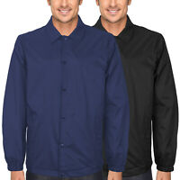 Men's Water Resistant Nylon Button Up Windbreaker Lightweight Coach Jacket