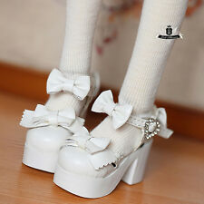 1/3 BJD Shoes Supper Dollfie bow white High heels shoes Dollmore Luts AOD DZ DOD
