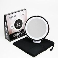 7x Magnifying Lighted Makeup Mirror. Warm LED Tap Light Bathroom Vanity Mirror