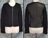 Theory Womens L Black Wool Leather Long Sleeve Full Zip Chunky Tallia Sweater