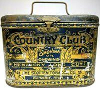 1890s Scotten Country Club Kentucky Long Cut Tobacco Tin Litho Lunch Box Antique
