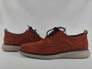 Cole Haan GrandEvolution Wingtip Oxford Suede Brandy Brown Shoe Men's Size 11.5