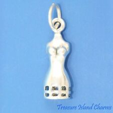 SEWING DRESS FORM MANNEQUIN FASHION 3D .925 Sterling Silver Charm