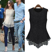 Sleeveless shirt Elegant Fashion Blouse Casual Celebrity Womens lace Top Size