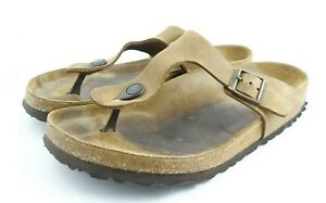 Birkenstock Gizeh Leather Thong Sandals Women's 41 (US 10-10.5) ~ Tobacco Brown