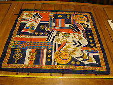 """Vintage Scarf: aprox. 30 x 30"""" ART OF THE SCARF, military medals motif polyester"""