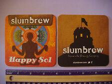Beer COASTER ~ Ipswich Brewing SOMERVILLE Brewing Slumbrew Happy Sol Hefeweizen