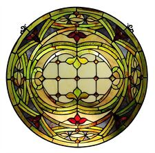 "PAIR Hand-crafted Stained Glass 24"" Round Window Panel Cut Glass Tiffany Style"