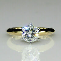 2.03ct Diamond Round cut Solitaire Band Engagement Ring Solid 14K Yellow Gold