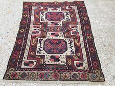 Old Kazak Rug Wool Oriental HandMade 140x105cm vintage carpet Turkish Persian