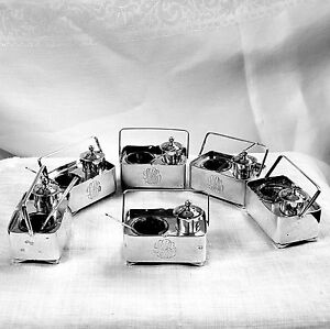 6 Japanese salt pepper shaker boxes with handles spoons included sterling silver