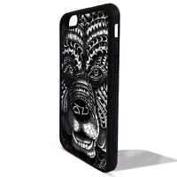 Black grizzly bear head face aztec tribal pattern cover case for Iphone 8 8 plus