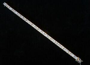 "Sterling Silver & Gold Plated CZ Stone Tennis Bracelet 7.25"" - Not Scrap"