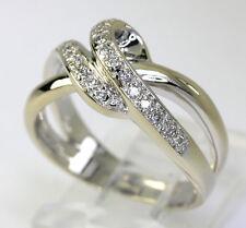 Diamond wave knot ring 14K white gold 24 round brilliants .25CT sz 6 1/2 wedding