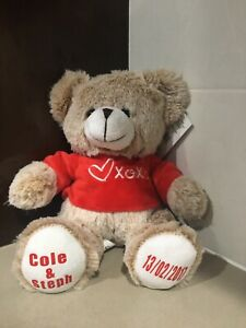 Personalised XOX Love Bear Plush Valentines Newlywed Anniversary Gift