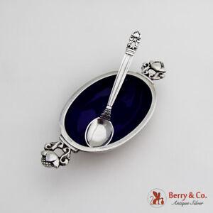 Acorn Oval Salt Dish Sterling Silver Blue Enamel Spoon Georg Jensen 662