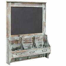 Mail Sorter Organizer Rustic Wood Wall Mount With Memo Bulletin Chalkboard Sign