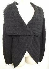 Catherine Malandrino Black Boucle Knit Wide Collar Sweater Size Small