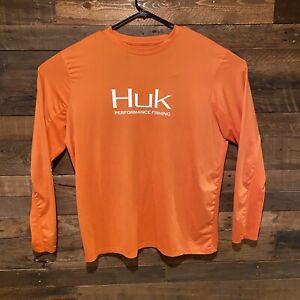 Huk Fishing Performance Fabric Orange Long Sleeve Shirt Mens Size XL