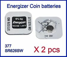Energizer SR626W SR626SW (377 376) Silver Oxide coin Battery 2 pcs FREE Shipping
