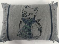 NWOT Martha Stewart Collection Snuggle Fox Decorative Pillow 20in x 14in Gray