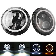 Chevy El Camino 1971-1975 7 Inch Round Cree LED Headlights White Halo Ring An...