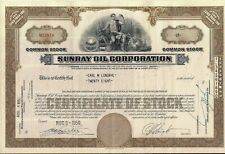 Sunray Oil Corp stock certificate Less Than 100 Shares 1950's Delaware