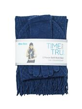 Time and Tru 3 piece soft knit set Blue Hat Beanie, Glove, and Scarf