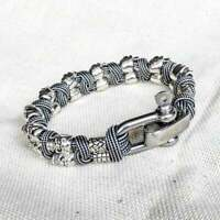 Horror skull paracord bracelet A great brutal gift. Biker bangle