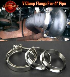 """T304 Stainless Steel V Band Clamp Flange Assembly For Ford 4"""" Inch O.D. Pipe"""