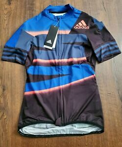 Adidas Women's Fitted Adistar Cycling Jersey  FJ6599  Blue / Black  Size S